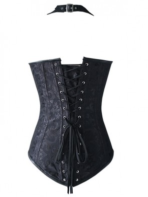 Fashion Noble Black Halter Jacquard Steel Boned Outerwear Corset