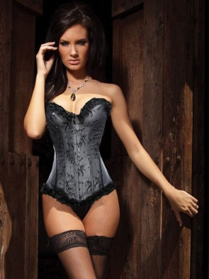 Beauty Floral Burlesque Corset Gray