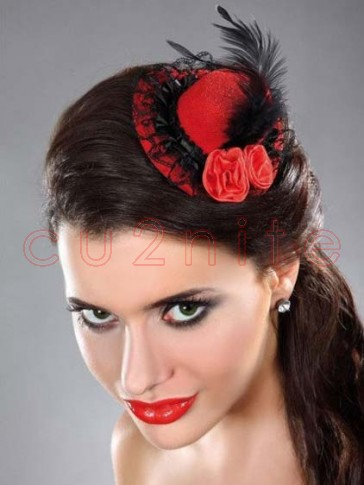 Burlesque Style Mini Top Hat - Red