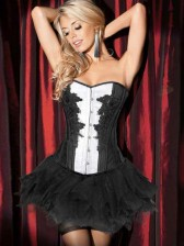 Deluxe Black Swan Burlesque Costume Corset and Skirt Set