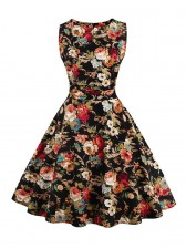Elegant 1950's Vintage Floral Print Sleeveless Swing Dress Black