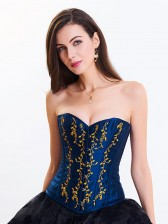 Women's Victorian Sweatheart Neck 14 Steel Boned Embroidery Overbust Corset Blue