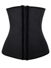Fashion Black Latex 4 Steel Boned Waist Training Cincher Underbust Corset with Zipper
