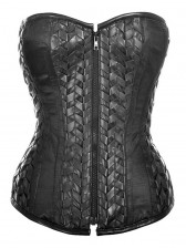 Steampunk Black Artificial Leather Weave Steel Bone Overbust Corset