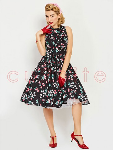 Tie Neck Cherry Printed Women'S Day Midi Dress