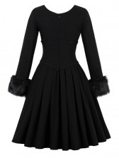 Women's Elegant Vintage Black V Neck Long Sleeve High Waist A-Line Swing Dress