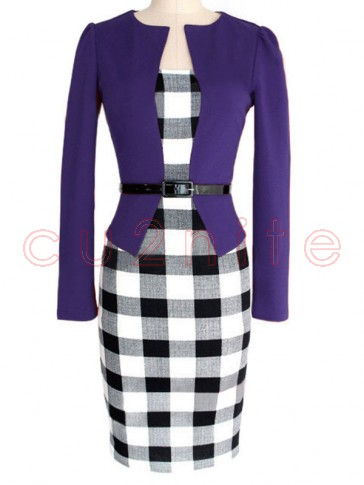 Vintage Office Lady 3/4 Sleeve One-Piece Patchwork Bodycon Dress with Belt
