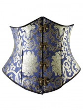 Renaissance Noble Blue Brocade Steel Bone Underbust Corset