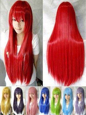 80cm Solid Colour Long Straight Wig