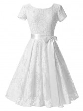 Vintage Floral Lace Short Sleeve Evening Party Swing Dress