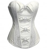 white Satin Bow Corset