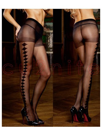 Black Lateral Diamond Pattern Stockings