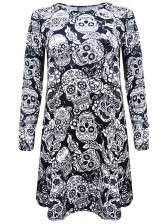 Women 's Halloween Dramatic Skull Print Bateau Neck Long Sleeve Mini Dress