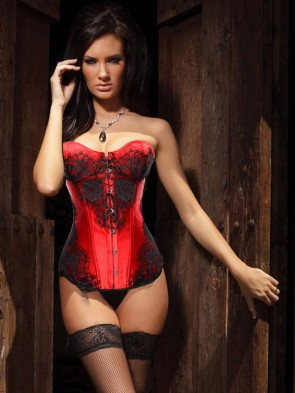 Classical Lace Overlay Corset Red