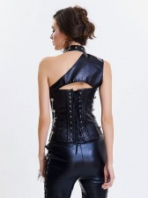 Women's Steampunk Black One-shoulder Leather Spiral Stripe Corset Shrug
