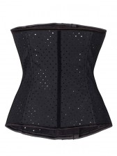 Black Spiral Steel Boned Hollow Latex Waist Training Cincher Underbust Corset