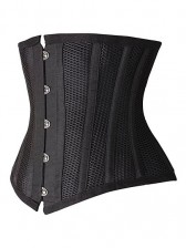 Steel Boned Mesh Overlay Ultimate Hourglass Waist Trainer Under Bust Corset - Black