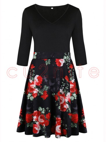 Women's Vintage V Neck 3/4 Length Sleeve Floral Print A-line Swing Dresses