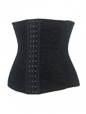 Steel Boned Lace Overlay Waist Cincher - Black