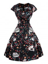 Classical Vintage Sweet Women Cap Sleeves Floral Skull Spot Print Swing Dress