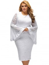Women's Sexy Flared Long Sleeve Floral Lace Plus Size Bodycon Dresses White