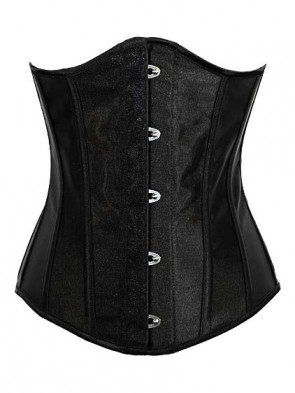 Steel Boned Black Satin Under Bust Corset