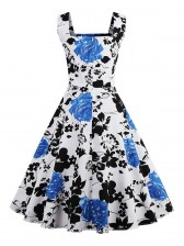 Vintage Square Neck Sleeveless Floral Print Dress For Women Blue