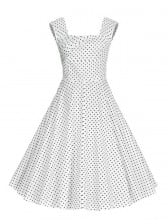 1950's Vintage Polka Dot Square Neck Sleeveless Dress For Women