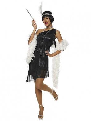 Dazzling Black Flapper Costume With White Feather Boa