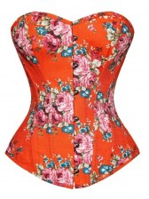 Floral Fantasy Denim Corset Orange