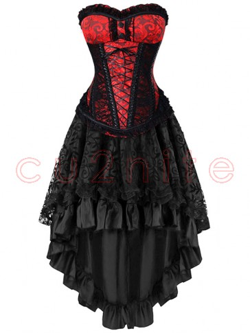 Steel Boned Red Jacquard Lace Trim Overbust Corset&Skirt Set
