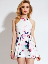Floral Halter Backless Short Mini Dress