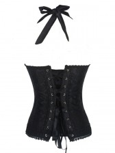 Fashion Elegant Black Halter Satin Jacquard Weave Lace Edge Corset