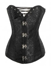 Women Vintage Black Brocade Steel Boned Corset with Lace Up Bust