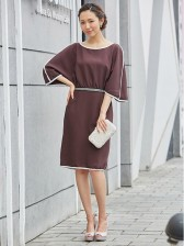 Women's Brown Elbow Sleeve Loose Style Casual Midi Dress