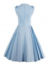 1960's Vintage Blue Bowknot Pleated Garden Dress