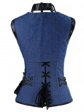 Steampunk Gothic Vintage Faux Leather Denim Jeans Steel Boned Corset