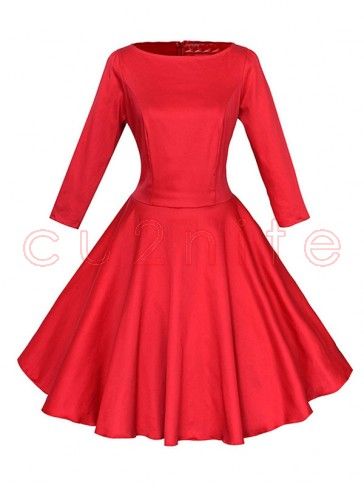 Classic 1950's Vintage Red Long Sleeves Casual Cocktail Party Dress