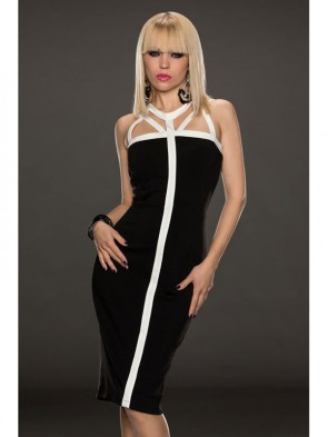 Fashion Black Back Cross Middle Long Dress