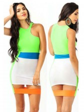 Fresh Colorful Sleeveless Cut Out Package Hip Mini Dress