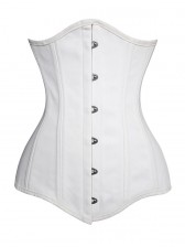 26 Steel Bones White Long Cotton Waist Training Underbust Corset