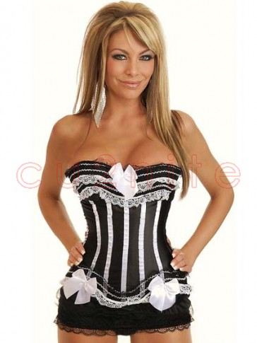 Clearance! Black and White Burlesque Style Corset
