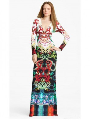 Sexy Gorgeous Dragon Long Sleeve Formal Evening Maxi Dresses
