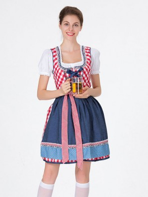 Girl'S Oktoberfest Red Grid Square Neckline Midi Dress Costume