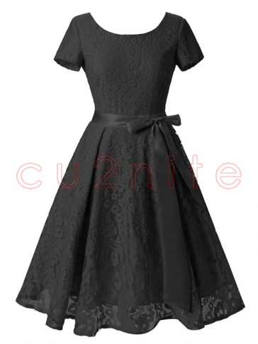 Vintage Floral Lace Short Sleeve Evening Party Swing Dress Black