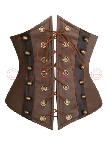 Fashion Brown Leather Lace-Up Underbust Corset
