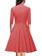 1960's Vintage Plaid Knee Length Tea Dress