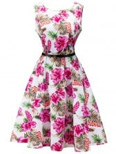 1950's Vintage Floral Print Sleeveless Cocktail Party Valentine's Day Dress with Belt