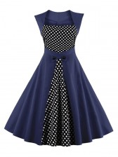 Charming Polka Dot Patchwork Sleeveless Casual Cocktail Party Dress Blue