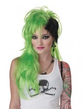 Green Black Smash Punk Wig